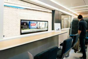 Canteen area of concept carriage by Deutsche Bahn