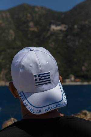 Cap with Greek flag and hellas written on it