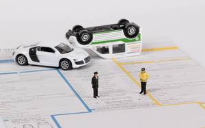 Car accident with accident statement report