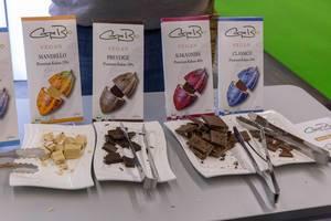 Carpe Bio - Vegane Bio-Schokolade mit premium Kakao in verschiedenen Varianten auf Serviertellern zum Probieren
