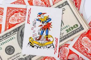 Casino gambling poker blackjack cards on green desk background