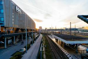 Central bus station in Munich, Germany at sunrise