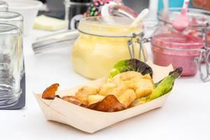 Ceviche: Frittierter Fisch mit Süßkartoffelchips