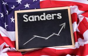 Chalkboard with Sanders text on American flag