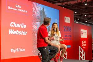 Charlie Webster on stage during London Marathon fair
