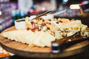 Cheese Plate Asorti With Bokeh Lights (Flip 2019)