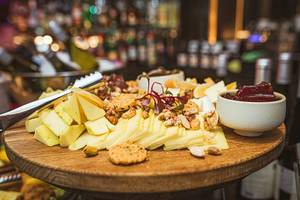 Cheese Plate Asorti With Walnuts, Jam And Greens (Flip 2019)