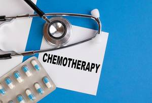 Chemotherapy written on medical blue folder