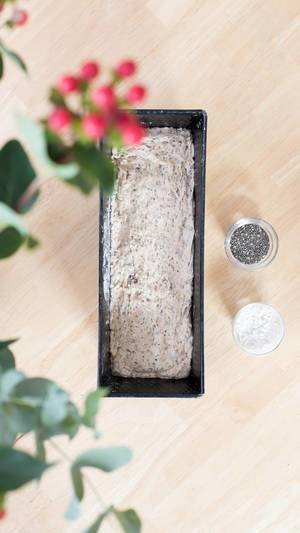 Chia bread dough in a loaf pan