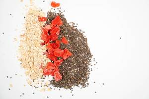 Chia Seeds, Dried Papaya and Oatmeal with copy space (Flip 2020)