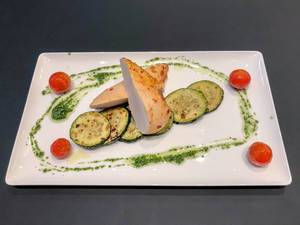Chicken breast with grilled zucchini at Hotel Roomz in Vienna