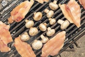 Chicken Breasts with Mushrooms on the barbecue grill