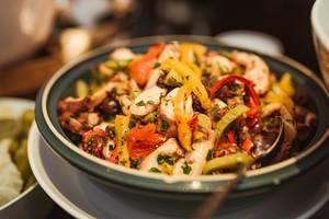 Chicken Paprica Salad With BBq Sauce