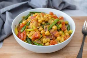 Chickpea Curry with vegetables in a Bowl
