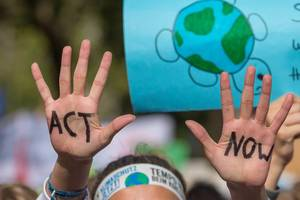 "Children demand ""ACT NOW"" at United for climate global movement march in Cologne Germany"