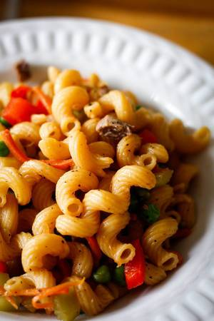 chinese pasta in a white bowl