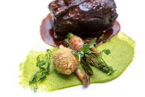 Chino Latino Wagyu Short Rib with Asparagus, Bone Marrow, BBQ Jus