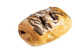Chocolate Croissant with Chocolate Topping above white background