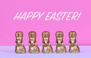 Chocolate Easter bunnies with Happy Easter text