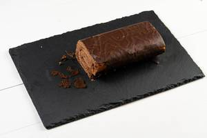 Chocolate Roll Cake on the Stone Tray