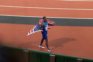 Christian Coleman (100 Meter Lauf Finale) bei den IAAF Leichtathletik-Weltmeisterschaften 2017 in London