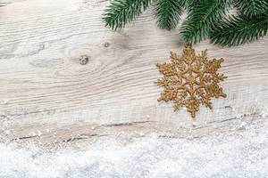 Christmas background with Christmas tree branches, snow and golden snowflake