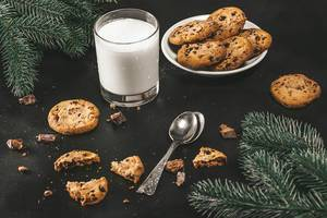 Christmas background with glass of milk and homemade chocolate cookies (Flip 2019)