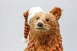 Christmas Bear Decoration on a White Background