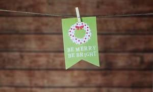 Christmas card hanging on rope