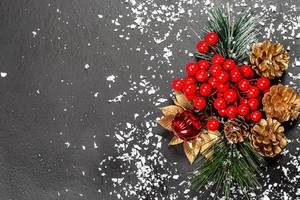 Christmas decor on black background with snow and free space (Flip 2019)