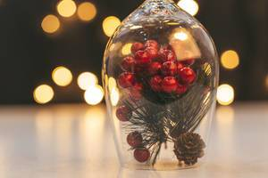Christmas decor on bokeh background