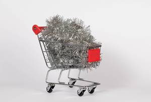 Christmas decoration in shopping cart
