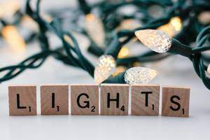Christmas Lights Background with the letters lights in the Front