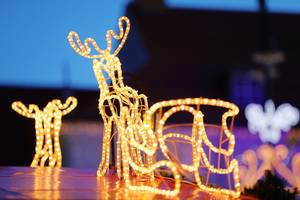 Christmas reindeer lights, decoration at Christmas fair (Flip 2019)
