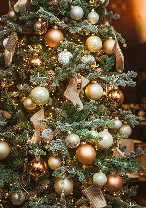 Christmas Tree With Golden Balls, Socks And Clocks
