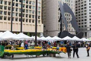 City market and The Chicago Picasso at Daley Plaza in the Chicago Loop