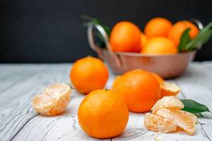 Clementines With Leaf Close-up