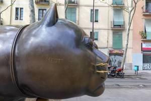 Close-up and side profil of the cat statue El Gato de Botero with moustache hair at Rambla de Raval Square in Barcelona, Spain