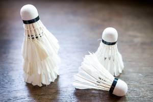 Close Up Bokeh Photo of Badminton Shuttlecocks on Wooden Table