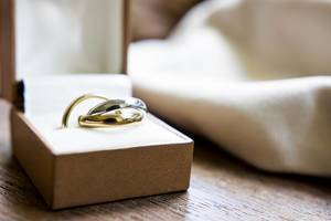Close Up Bokeh Photo of Wedding Rings in a Ring Box on Wooden Table