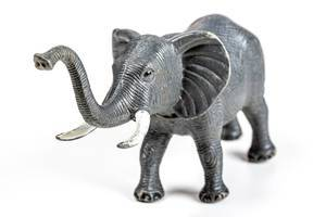 Close-up, elephant toy on white background