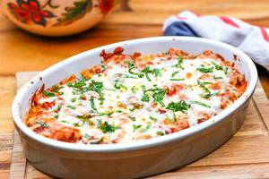 Close Up Food Photo of Tomato Pasta Casserole with Cheese