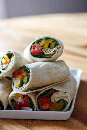 Close Up Food Photo of Vegetable Chicken Wraps