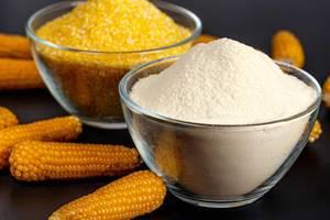 Close-up, glass bowl with corn flour