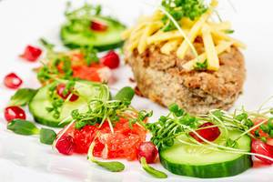 Close up lunch with fresh vegetables, fruits, cheese and cutlet (Flip 2020)