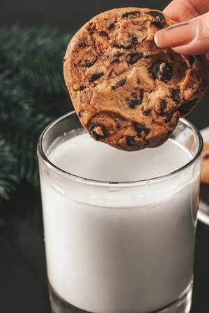 Close up of a cookie with pieces of chocolate dipped in a glass of milk (Flip 2019)