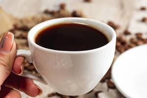 Close up of a Cup of coffee in a woman