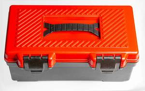 Close-up of a plastic tool box