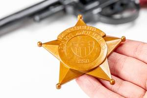 Close-up of a plastic toy police badge in hand (Flip 2020)