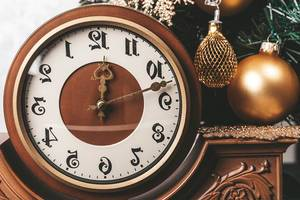 Close-up of a vintage clock as a symbol of the turn of the New Year (Flip 2019)